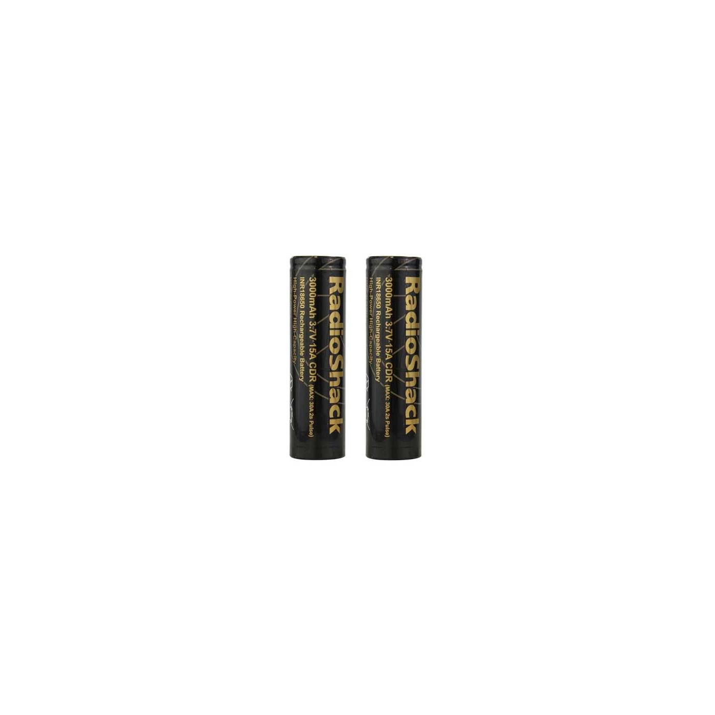 RadioShack INR 18650 15A 3000 mAh Battery 2 Pack