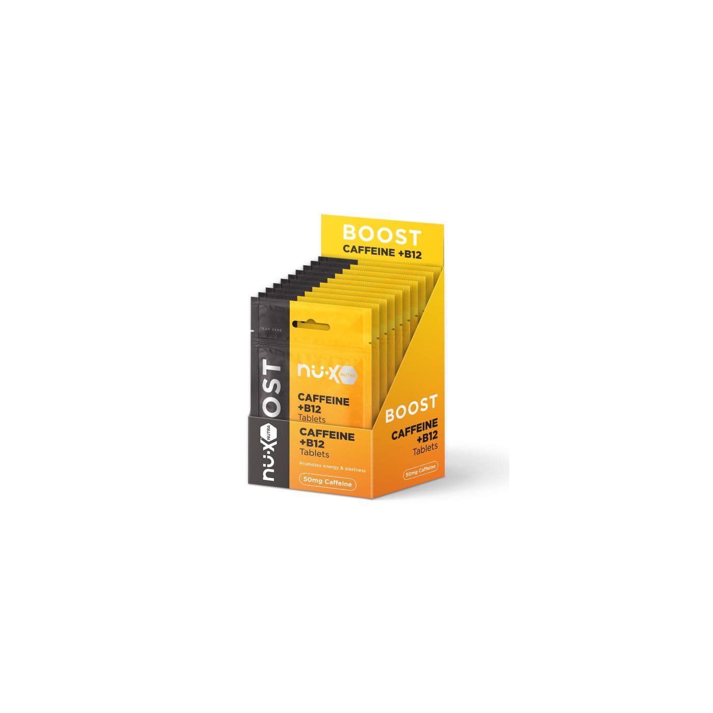 Nu-X Caffeine/B12 Chewable Tablets Boost - Carton